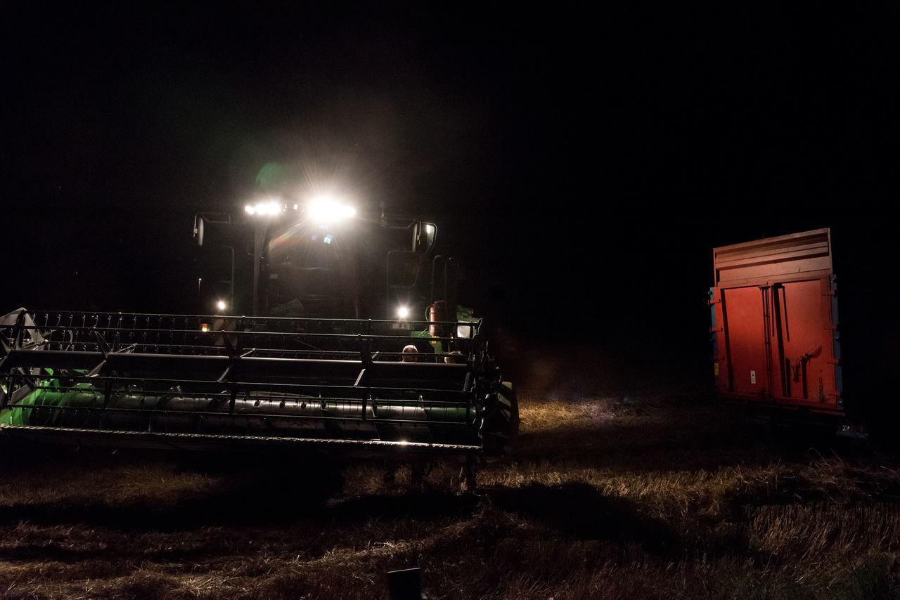 Night Illuminated No People Outdoors Farm Farm Life Farming Tractor Agriculture Working Corn Field Farmer Hard Work Harvest Harvesting Harvest Time Harvest Season Harvester Combine Harvester Cereal Crops Field Growth