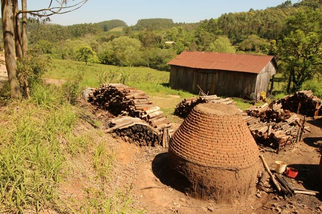 Coal furnace in south Brazil Agriculture Bricks Coals Day Earth Resources Earth_Collections Farm Field Flowers Furnace Furnaces House Landscape Landscape_Collection Long Angle View Outdoors Rural Scene Tree Woods Work