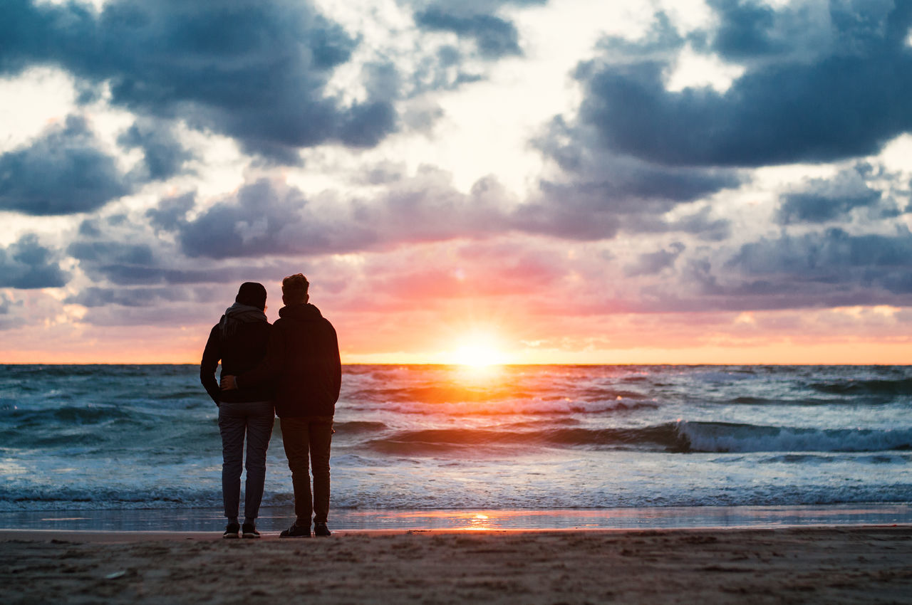 those minutes Beach Beauty In Nature Bonding Cloud - Sky Denmark Horizon Over Water Leisure Activity Lifestyles Love Men Nature Outdoors Real People Sand Scenics Sea Sky Standing Sun Sunset Togetherness Tranquil Scene Tranquility Two People Water