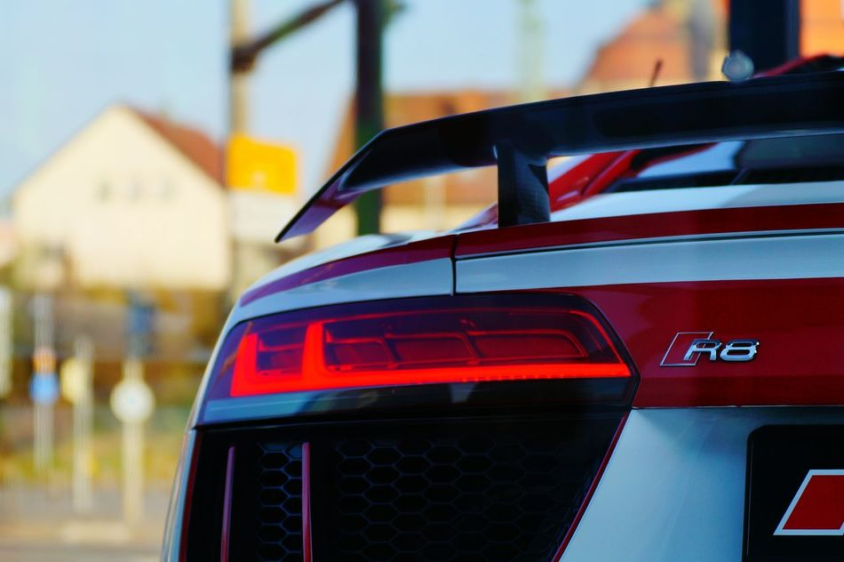 Focus On Foreground Transportation Fun Cars Action Power Vehicle Photography Sport Cars Sportscar Colorphotography Color Photography Portrait Photography EyeEm Best Shots Fotography The Week On Eyem Motorsports Motorsport Carnival Crowds And Details Audi R8 Car No People Close-up Outdoors Transportation Red