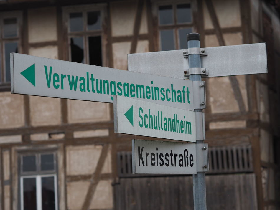 Directional Sign Ershausen German Language German Street Signs German Words Germany Street Signs Verwaltungsgemeinschaft