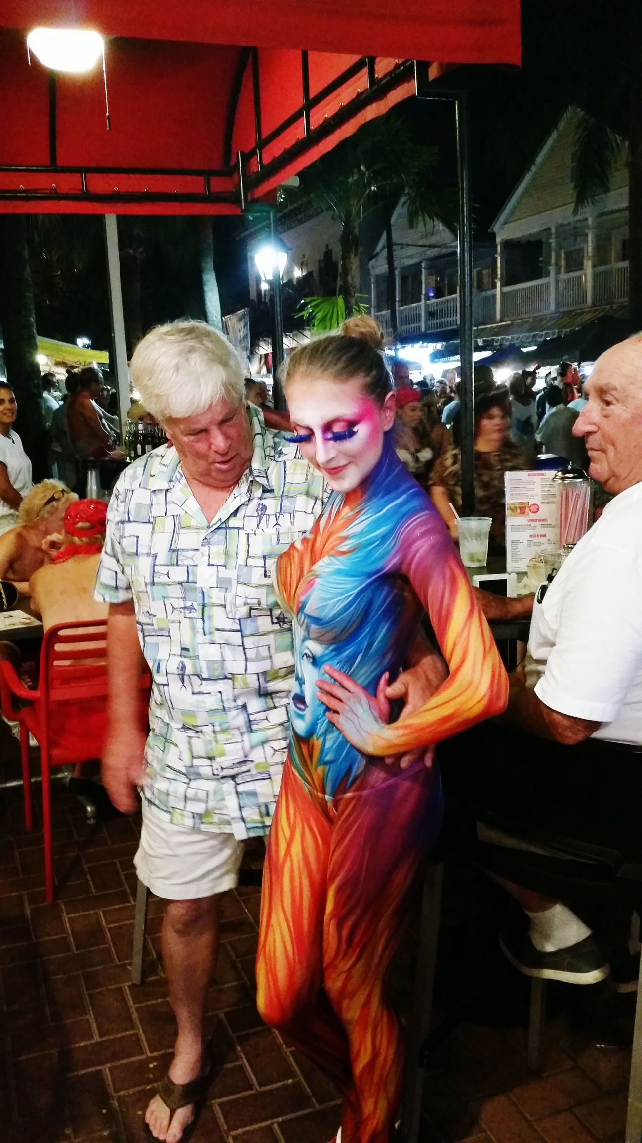 Hanging Out Fantasy Bodypainting Key West Duval Street Key West At Night Johnnyrockets Fantasy Fest Bodyart Body Curves  The Tourist