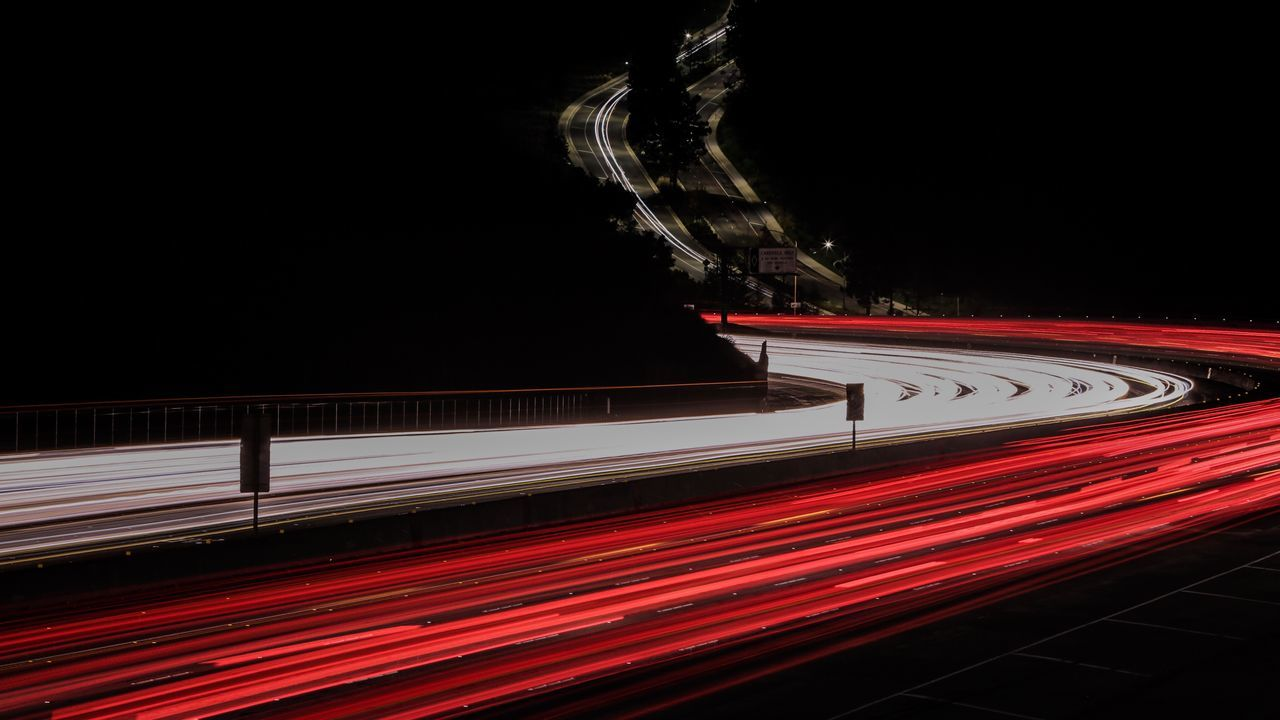 speed, red, light trail, long exposure, motion, night, illuminated, transportation, no people, outdoors, high street