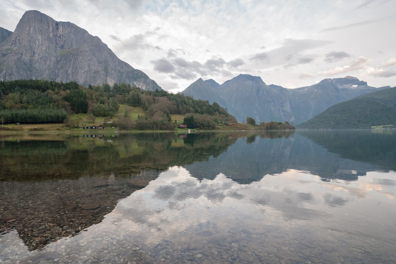 Norway Landscape Fjord Water Reflections Mountains Lake Eikesdalsvatnet Landscape_photography Landscape_Collection Landscapes With WhiteWall Horizontal Symmetry Reflections