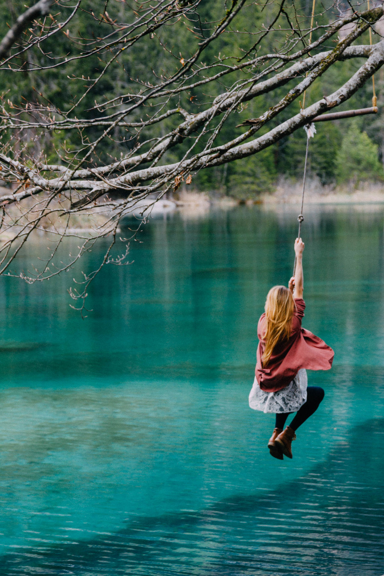 Beauty In Nature Outdoors Nature Tranquil Scene Alone Scenic Switzerland Water Woman Roadtrip Weekend Trip Weekend Adventure Mountains Mountain Lake Lake Hike Swing Dare Tranquility Young People Fun Lakeside Trip Traveling