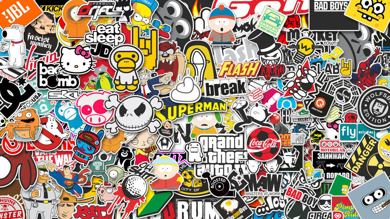 Wall Cartoons Combined Companies Logos Multi Colored No People Wallpaper