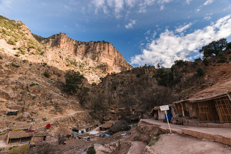 A small village, mainly consiting of shops and restaurants for the tourists, small shelters and mule parks, on the little hike to the sources d' Oum er- Rbia. Africa Aguelma Atlas Mountain Azigza Blue Sky Cloud Er- Rbia Landscape Morocco National Park Oum Er- Rbia Tourism