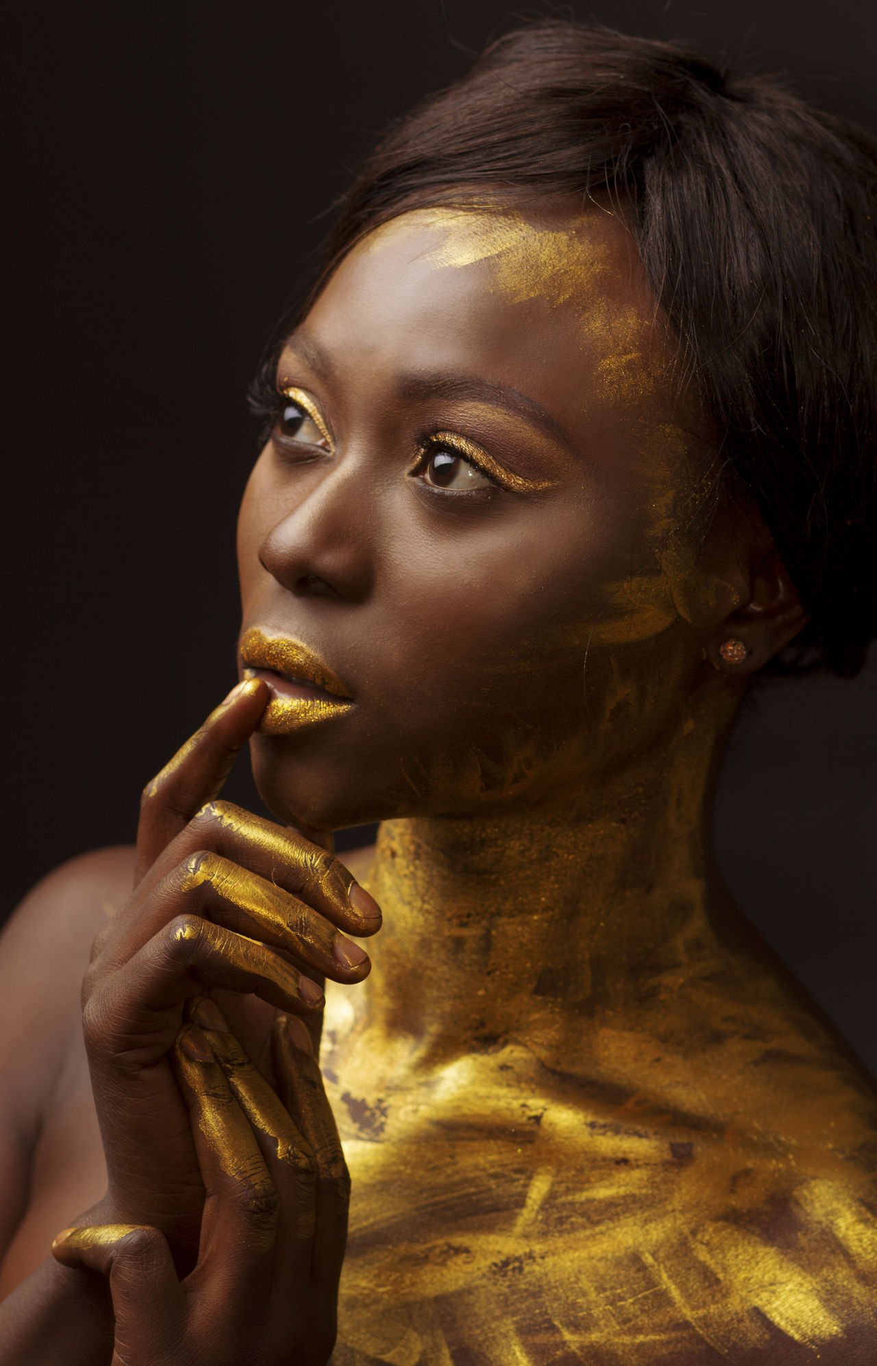 African African Beauty Beauty Black Black Background Black Girl Close-up Editorial Fashion Editorial Photography Gold Colored Human Body Part Human Hand Makeup Portrait Shadow Shadows & Lights Statue Studio Photography Studio Shot