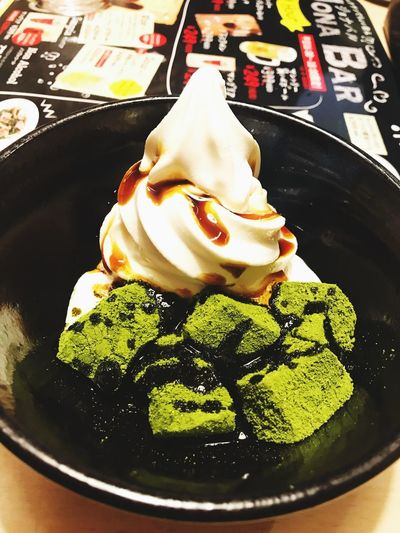 green tea warabi mochi with ice cream at jonathans Japan Dessert Food Lover Food And Drink Food Freshness Sweet Food Plate Indulgence Dessert Temptation Ice Cream Frozen Food