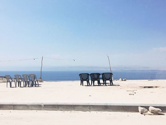 Silence Heat - Temperature Dead Sea  Chairs White Blue Seascape Jordan Composition Photooftheday Arrived Hot Day Enjoying The Sun Enjoying Life Dead Sea View