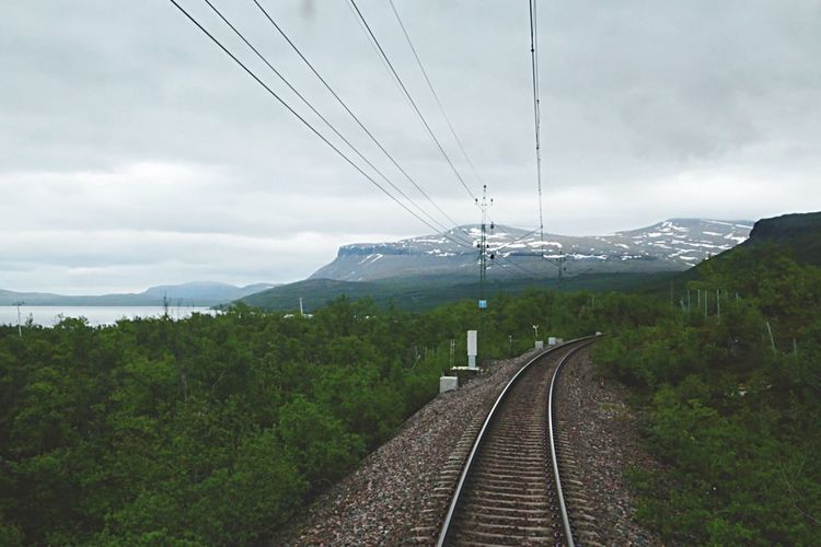 Railroad Railroad Track Rail Railway Travelphoto Electricity  Travelphotography Sweden Nature_collection Perspective Travel Photography Electronic Norra Sverige Forests North Sweden Transportation Transportations Vacation Time Tracks Train Travel Snowy Mountains Norrland Forest Photography Traveling