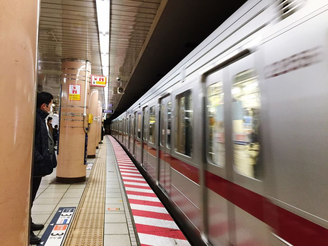 Transportation Travel Public Transportation Indoors  Train - Vehicle Real People Railroad Station Railroad Station Platform Mode Of Transport Men Subway Train One Person People Day