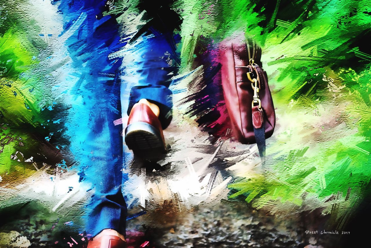 Step into Reality... Multi Colored Real People One Person Outdoors Water Day Nature Low Section Lifestyles Contemporary New York Photooftheday Picoftheday ArtWork NYC Art Gallery Art Artist Style Arts Culture And Entertainment Lifestyle Art, Drawing, Creativity Artistic Digital Art Fashion