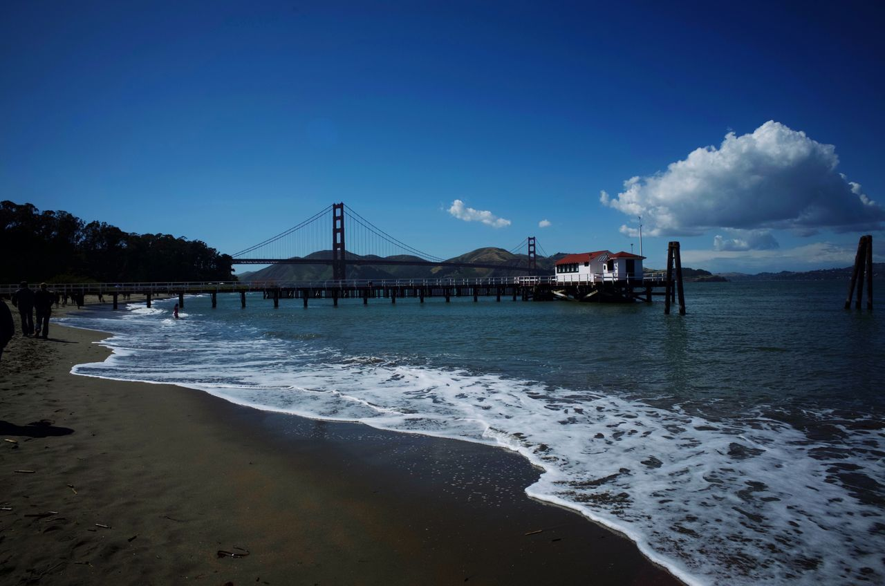 Architecture Beach Built Structure Water Sea Travel Destinations Sky Outdoors Bridge - Man Made Structure Connection Sand No People Day Nature Building Exterior Beauty In Nature Wave Golden Gate Bridge Beach Life Sea And Sky Beach House Seaside Bay Area Pier San Francisco