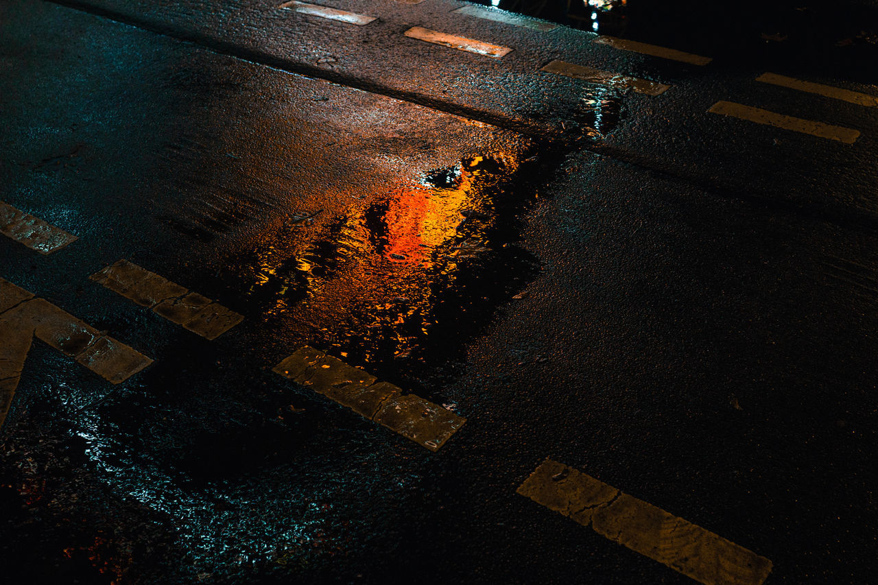 After Rain Asphalt City Lights Lines Night Lights No People Street Street Photography Water Winter
