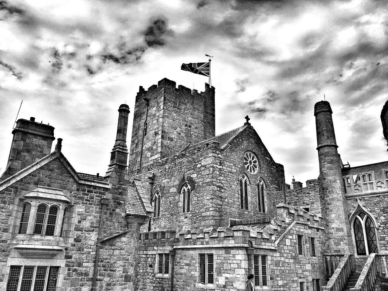 Built Structure Architecture Building Exterior Low Angle View Sky Old Cloud - Sky Window Cloud History Tower Tall Day Arch Cloudy The Past Place Of Worship Façade Castle Island Cornwall Black And White Black & White
