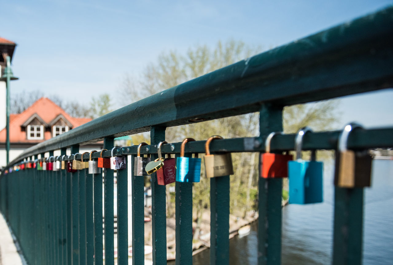 Lock Railing Protection Hanging Security Love Lock Safety Variation Outdoors Sky Luck Hope - Concept Love Day Built Structure Tradition No People Bridge - Man Made Structure Multi Colored