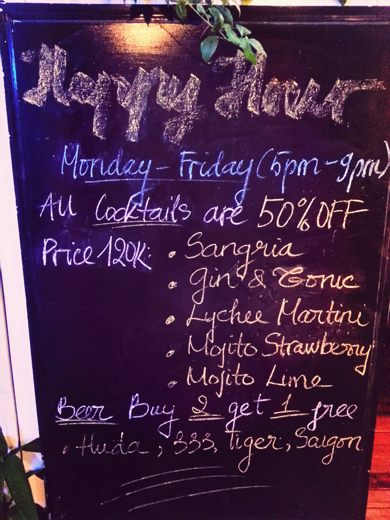Happy Hour,50% OFF Enjoy Life Drink