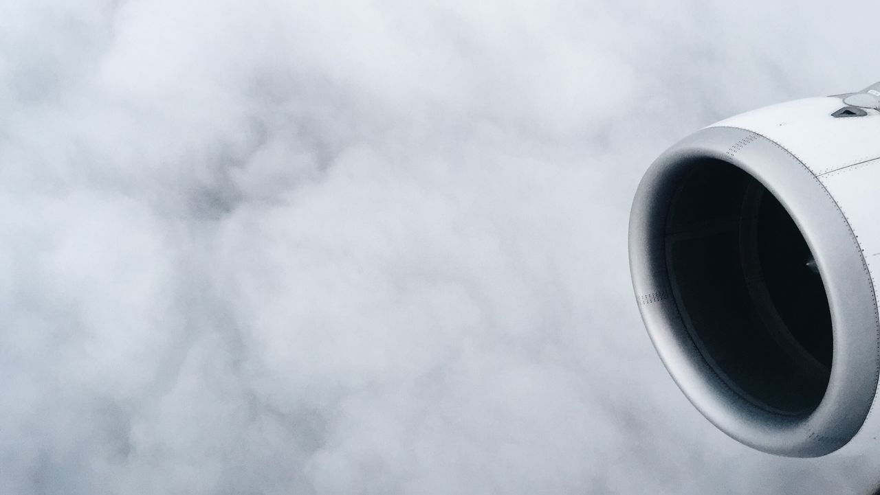 Airplane engine and clouds Air Vehicle Airplane Airport Cloud - Sky Day Jet Engine Low Angle View No People Sky