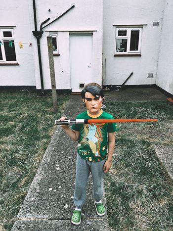 Boy Film Fan Outdoors Teenager Person Mask Door Window Green Grass Spring Star Wars