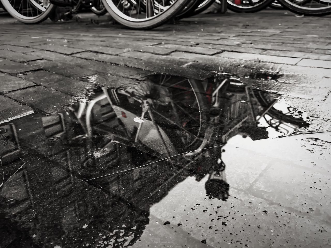 transportation, puddle, abandoned, no people, mode of transport, day, outdoors, wheel, tire, close-up