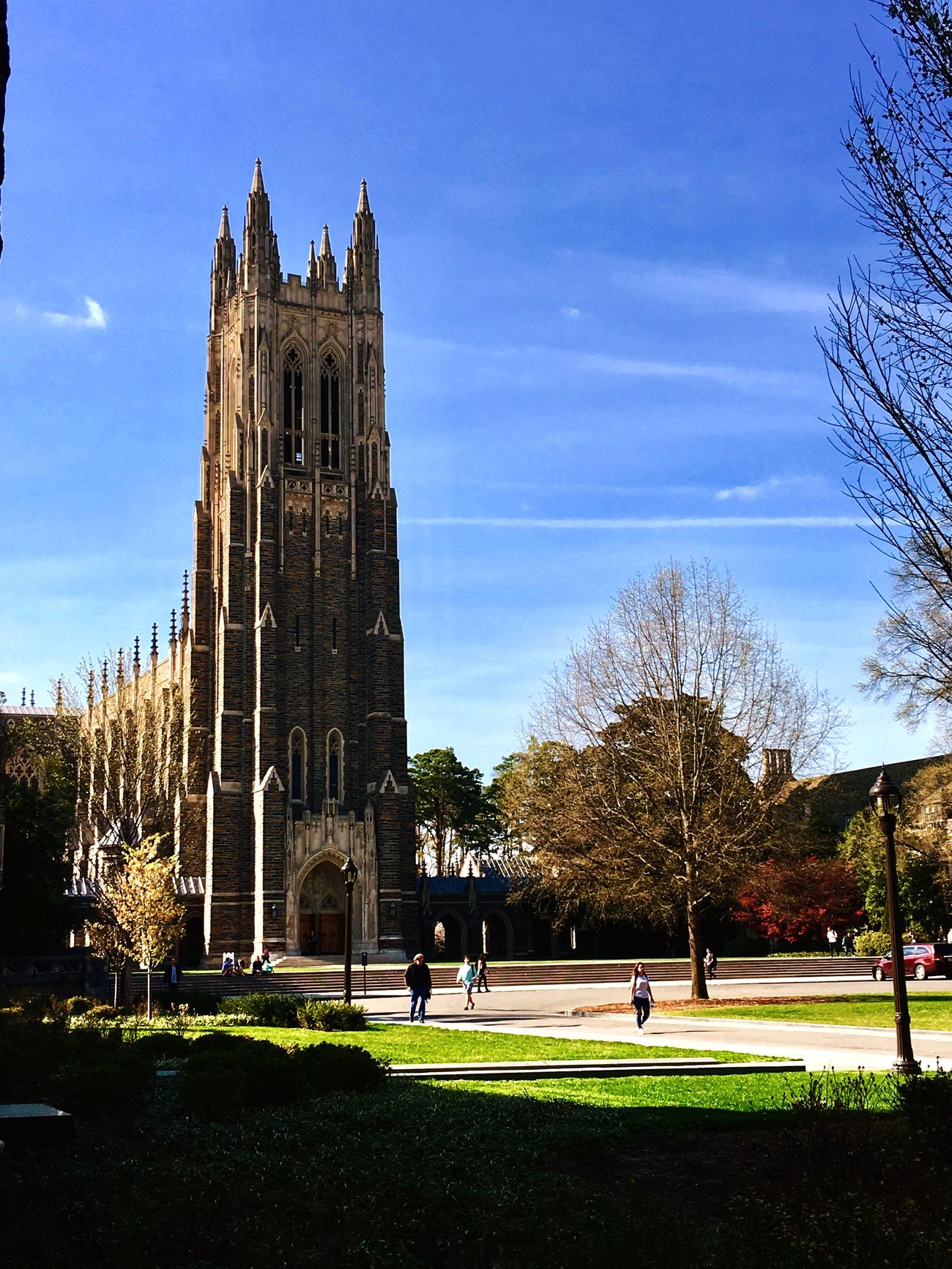 Duke University Chapel Built Structure Architecture Building Exterior Real People Sky Grass Outdoors Tree Clear Sky