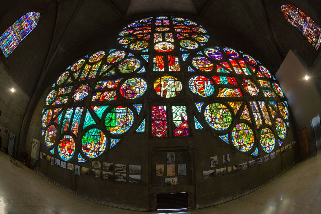 MANIZALES, COLOMBIA - MAY 31: Stained glass windows inside the Cathedral Basilica of our Lady of the Rosary in Manizales, Colombia on May 31, 2016. Cathedral Catholic Church Colombia Gothic Latin Manizales South Stained Glass Travel America Architecture Cathedral Basilica Coffee Triangle Colombian  Colorful Sky Destination Fisheye Lens Indoors  Lady Of The Rosary No People Place Of Worship Religion Spirituality Tourism