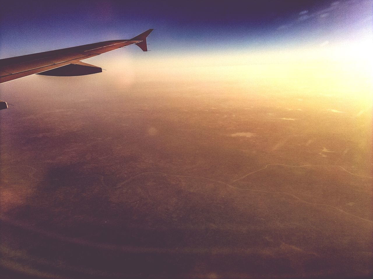 Airplane Transportation Aerial View Flying Airplane Wing Mode Of Transport Sky Journey Aircraft Wing Aeroplane Aircraft Nature No People Landscape Air Vehicle Sunset Beauty In Nature Cloud - Sky Outdoors Close-up