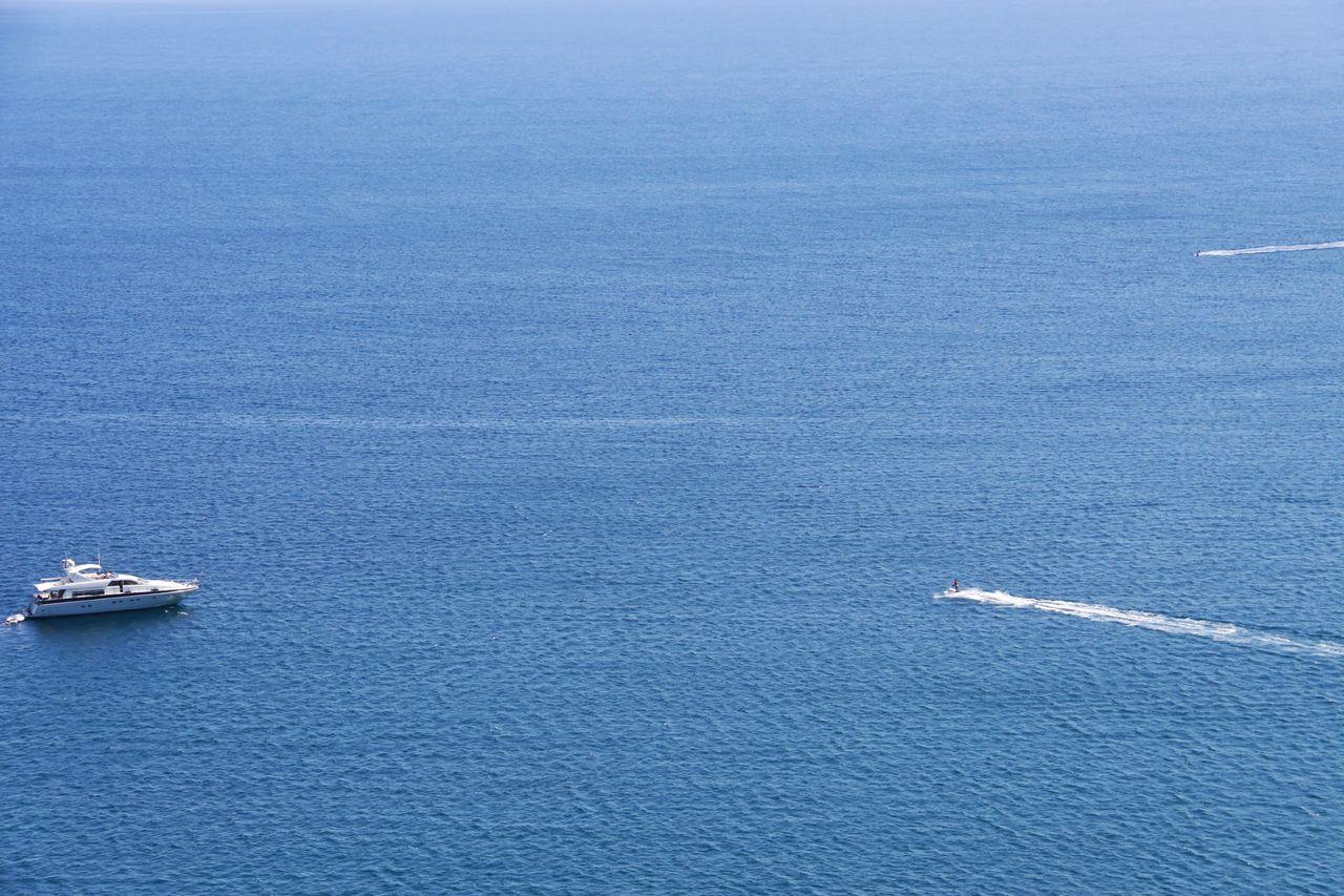 The meeting.. Calm Sea Seaside Traveling Sea Boats