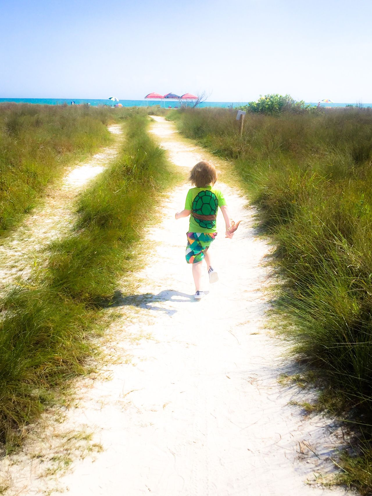 He was so excited to see the ocean for the first time he lost his hat along the way. He couldn't leave his dinosaur behind. 😄 I just love seeing all the firsts with my grandsons. I'm very thankful. ❤️🙏🏼 The Way Forward Portrait Of A Toddler Childhood Full Length Sand Footpath Grass Day Nature Nature Is My Best Friend Landscape Running Outdoors Plant Sky Blue Green Grandson Tranquility Tranquil Scene Tadaa Community Diminishing Perspective Beauty In Nature Nature Photography Ocean
