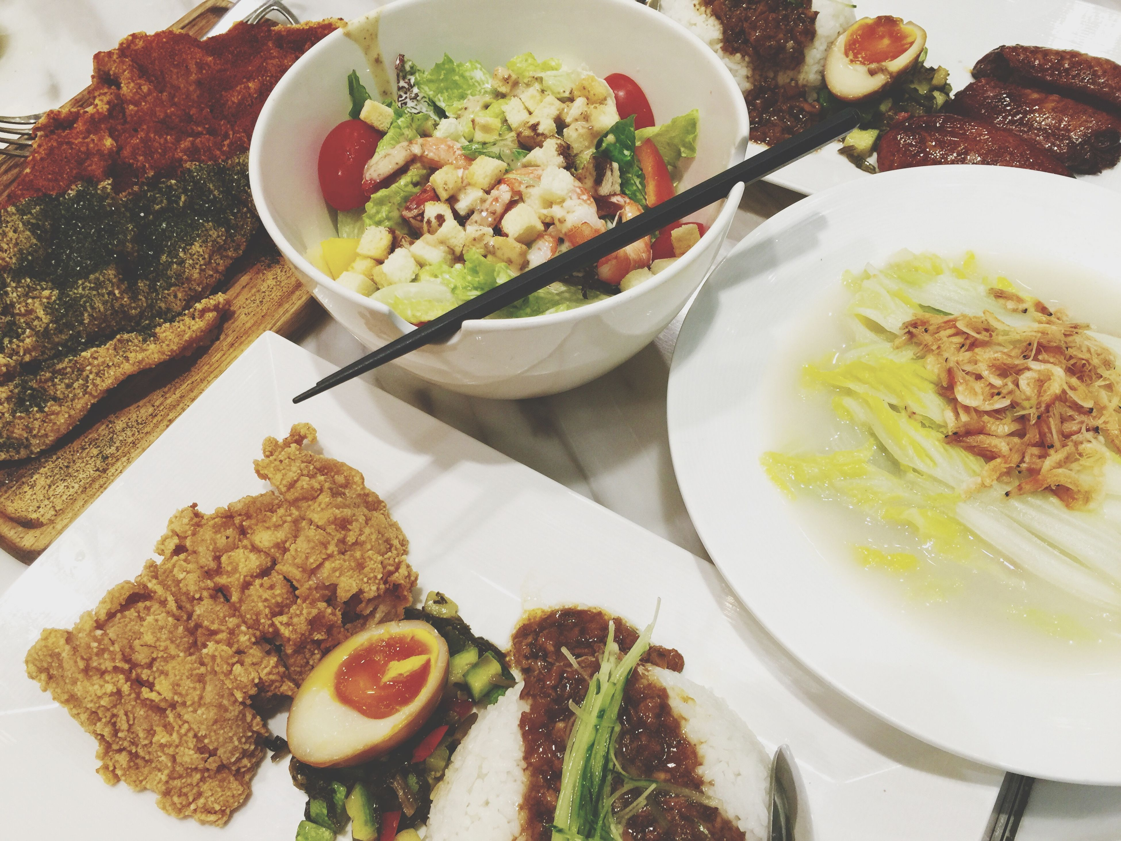 food and drink, food, freshness, ready-to-eat, plate, indoors, meal, serving size, healthy eating, still life, meat, close-up, indulgence, salad, table, served, high angle view, vegetable, healthy lifestyle, rice - food staple