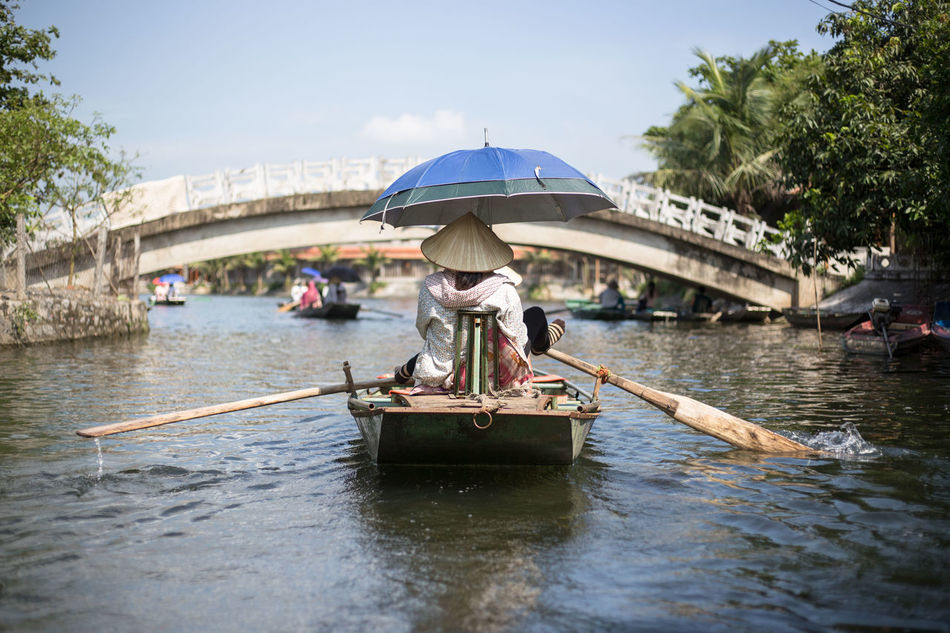 Beautiful stock photos of vietnam, Asian Style Conical Hat, Boat, Bridge - Man Made Structure, Day
