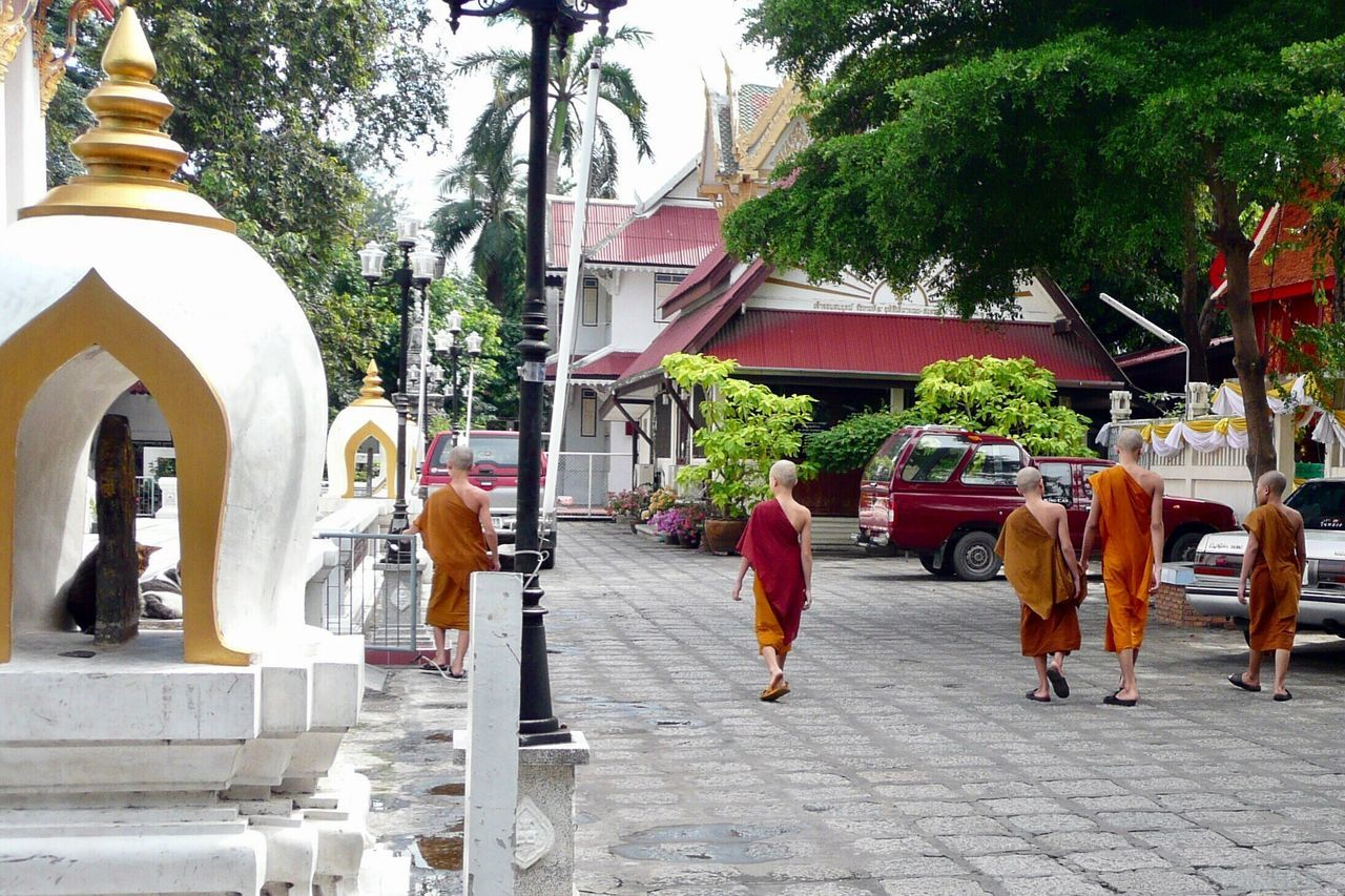 Buddhist Monks Tree Outdoors Built Structure Architecture Day Building Exterior Real People Women City Men Adults Only People Sky Adult