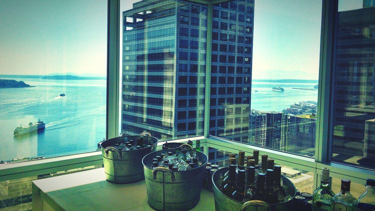 Downtown Seattle Sky Scraper Chill Bins Wine Tasting Waterfront Enjoying The View View Ferryboat Puget Sound, Seattle, WA
