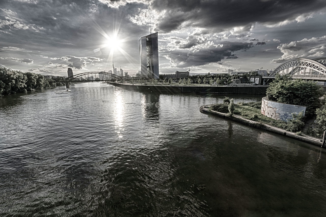 outdoor - shoot EZB, Frankfurt Architecture Bridge - Man Made Structure Building Exterior Built Structure City Cityscape Cloud - Sky Day Grayish HDR No People Outdoors River Sky Surrealism Suspension Bridge Travel Destinations Water Waterfront