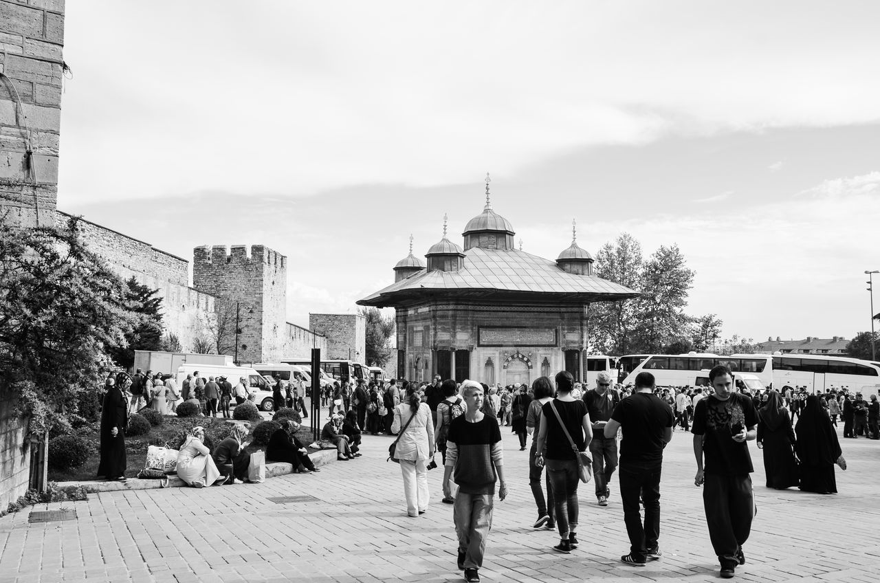 Architecture Casual Clothing City City Life Cloud Crowd Fatih Fountain Historic Historical Building Historical Monuments Large Group Of People Lifestyles Mixed Age Range Topkapi Palace Tourism Tourist Travel Destinations Ottoman Historical Place Historical Peninsula