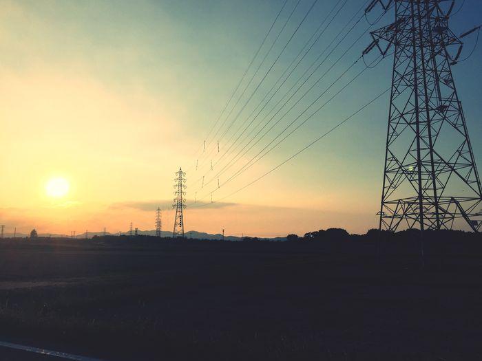 夕焼け 夕日 鉄塔 Sunset Steel Tower  IPhoneography
