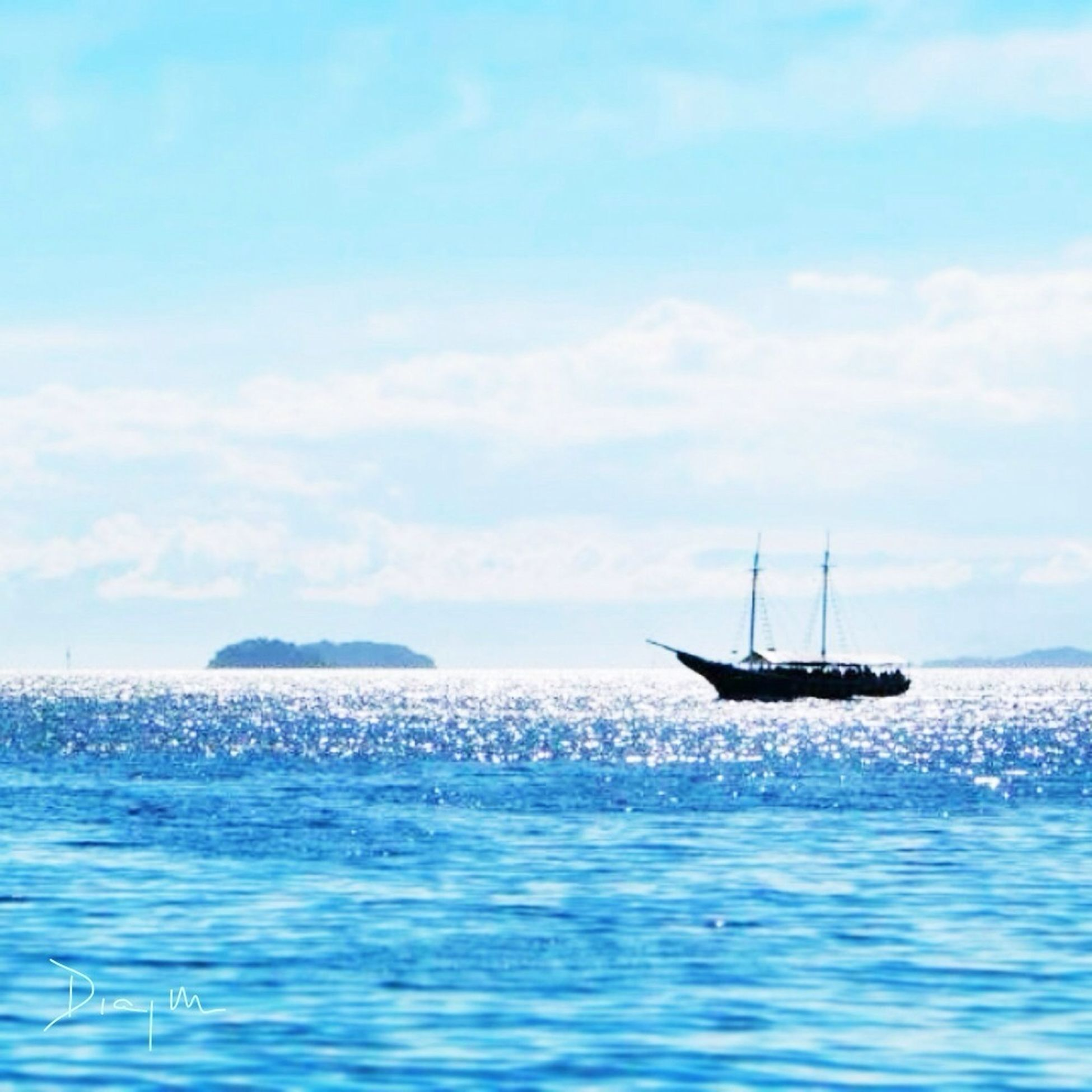 sea, water, nautical vessel, transportation, horizon over water, mode of transport, boat, waterfront, sky, scenics, tranquil scene, beauty in nature, tranquility, nature, sailing, rippled, blue, travel, seascape, idyllic