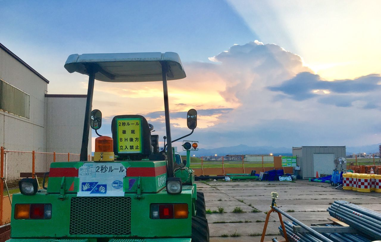 gas station, fuel pump, transportation, sky, cloud - sky, land vehicle, refueling, fuel and power generation, gasoline, no people, outdoors, day, nature, oil pump