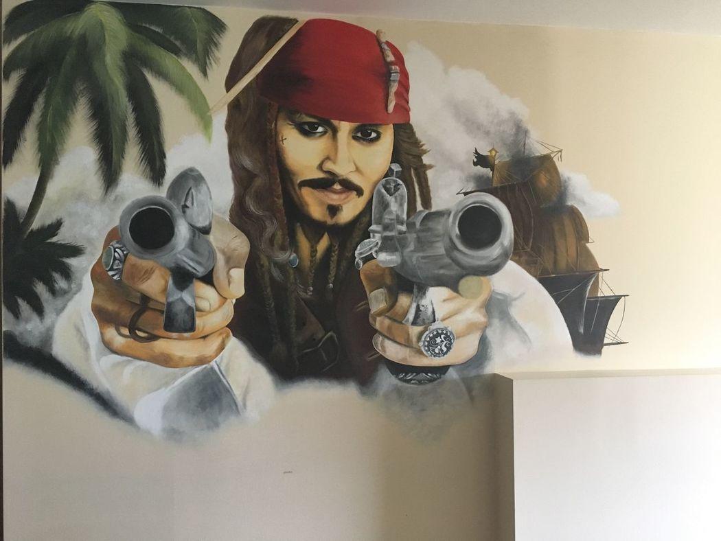 Buccaneer Jack Sparrow Jack Sparrow Captain Painting Wall Painting Wall Painting/grafitti