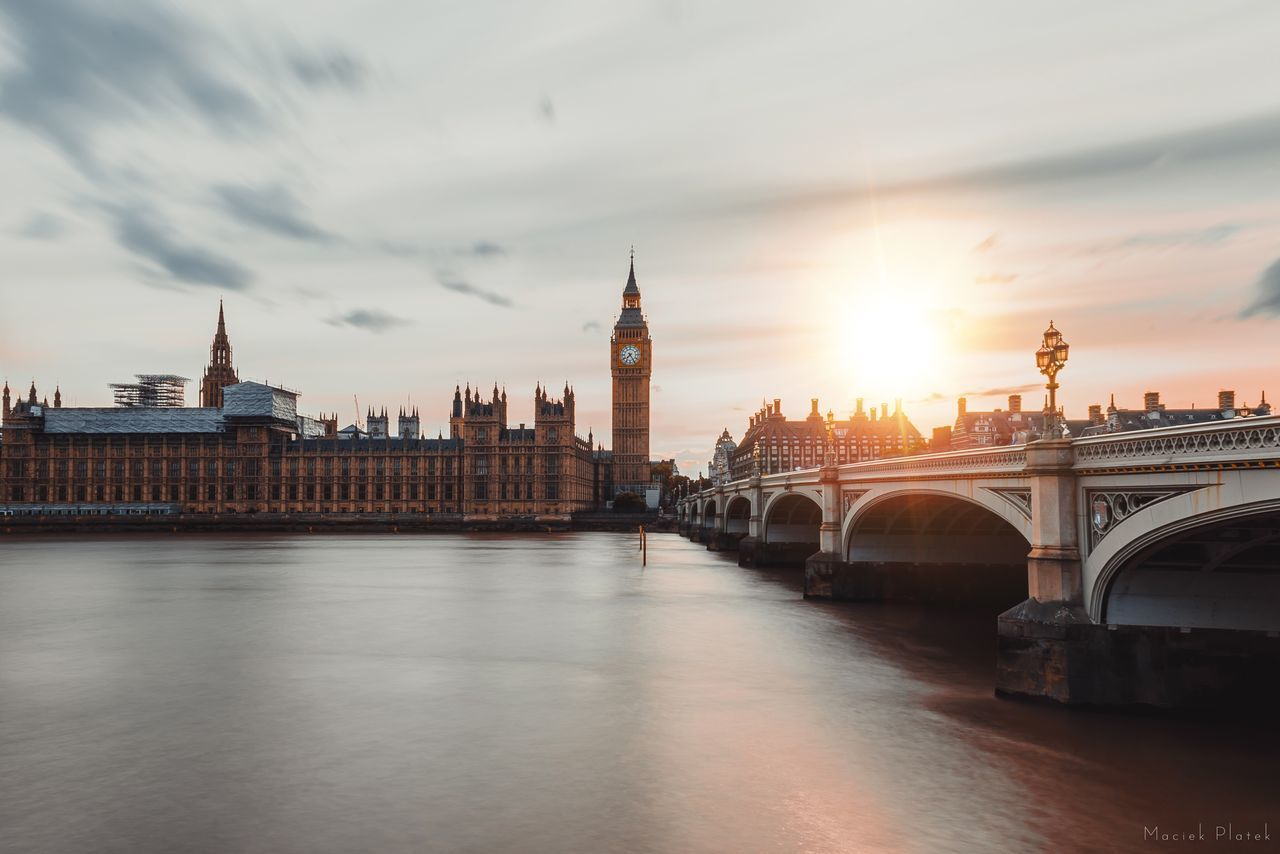Big Ben Architecture Built Structure Bridge - Man Made Structure River Travel Destinations Sky Cloud - Sky Clock Tower Building Exterior Connection Sunset Water Government Outdoors City No People Day Politics And Government Cityscape Long Exposure London England