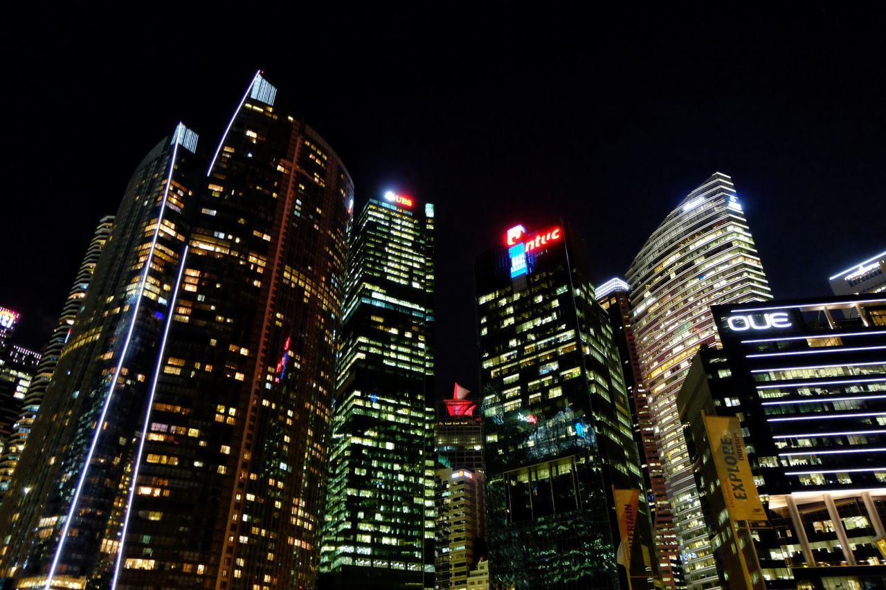 modern, night, architecture, illuminated, skyscraper, building exterior, city, built structure, low angle view, travel destinations, no people, sky, outdoors, cityscape