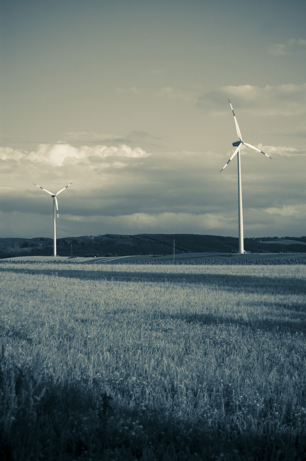 Alternative Energy Environmental Conservation Field With Power Stations Field With Wind Power Station Green Power Landscape Landscape With Power Station Monochrome Photography Outdoors Power Plant Technology And Nature Tone Splitting Wind Power Wind Power Generator