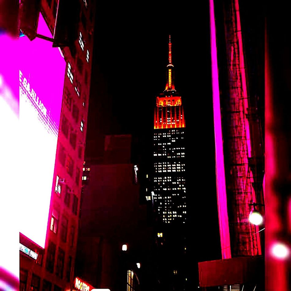 Empire Of Lights Empiretower First Eyeem Photo EyeEmNewHere Nyclife Skyscraper Midtown Manhattan NYC LIFE ♥ Arts Culture And Entertainment Illuminated Outdoors City Night Multi Colored Urban Skyline