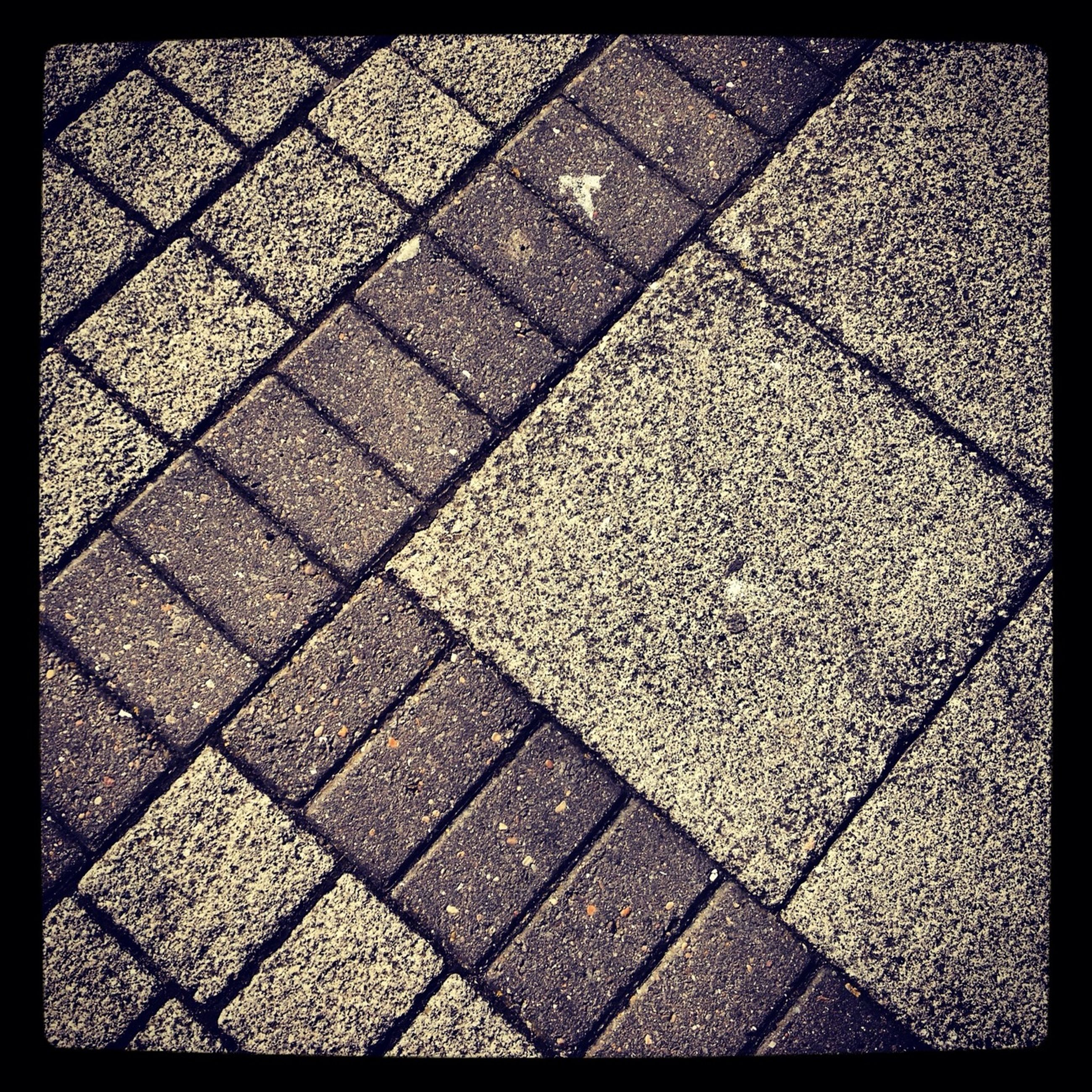 transfer print, full frame, auto post production filter, backgrounds, cobblestone, pattern, high angle view, paving stone, textured, footpath, street, outdoors, sunlight, day, no people, close-up, tiled floor, shadow, sidewalk, pavement
