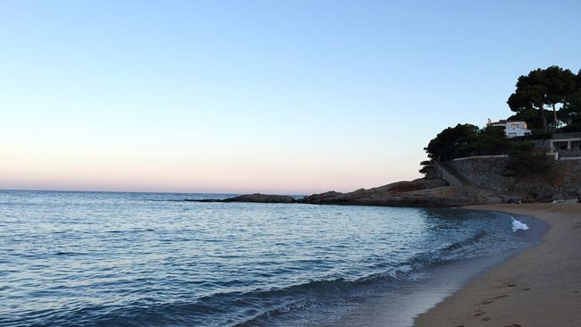 Sunset Bathing Peaceful Place Beach Beachphotography Holiday SPAIN Peace And Quiet Rock Showcase July Walking Around España Open Edit Summer Getting Inspired Summertime Platja D'Aro Beautiful Nature No Filter Beauty In Nature Color Palette Pastel Blue