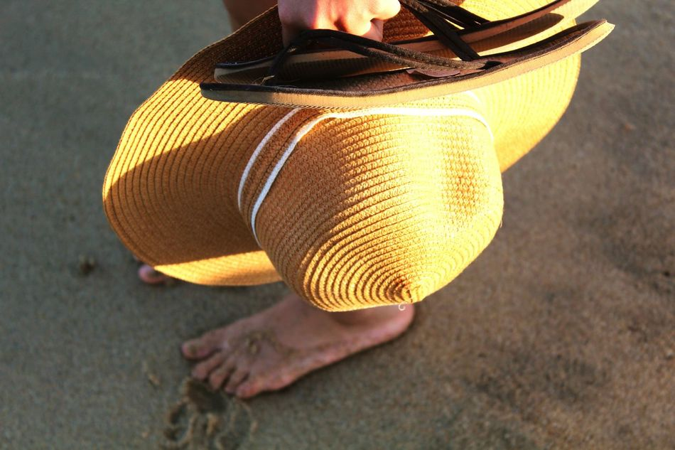 Feet Feet In Sand Hat Yellow Hat Sunglasses Sand Beach Sarti Greece Girl Young Woman Canonphotography Eos1200d