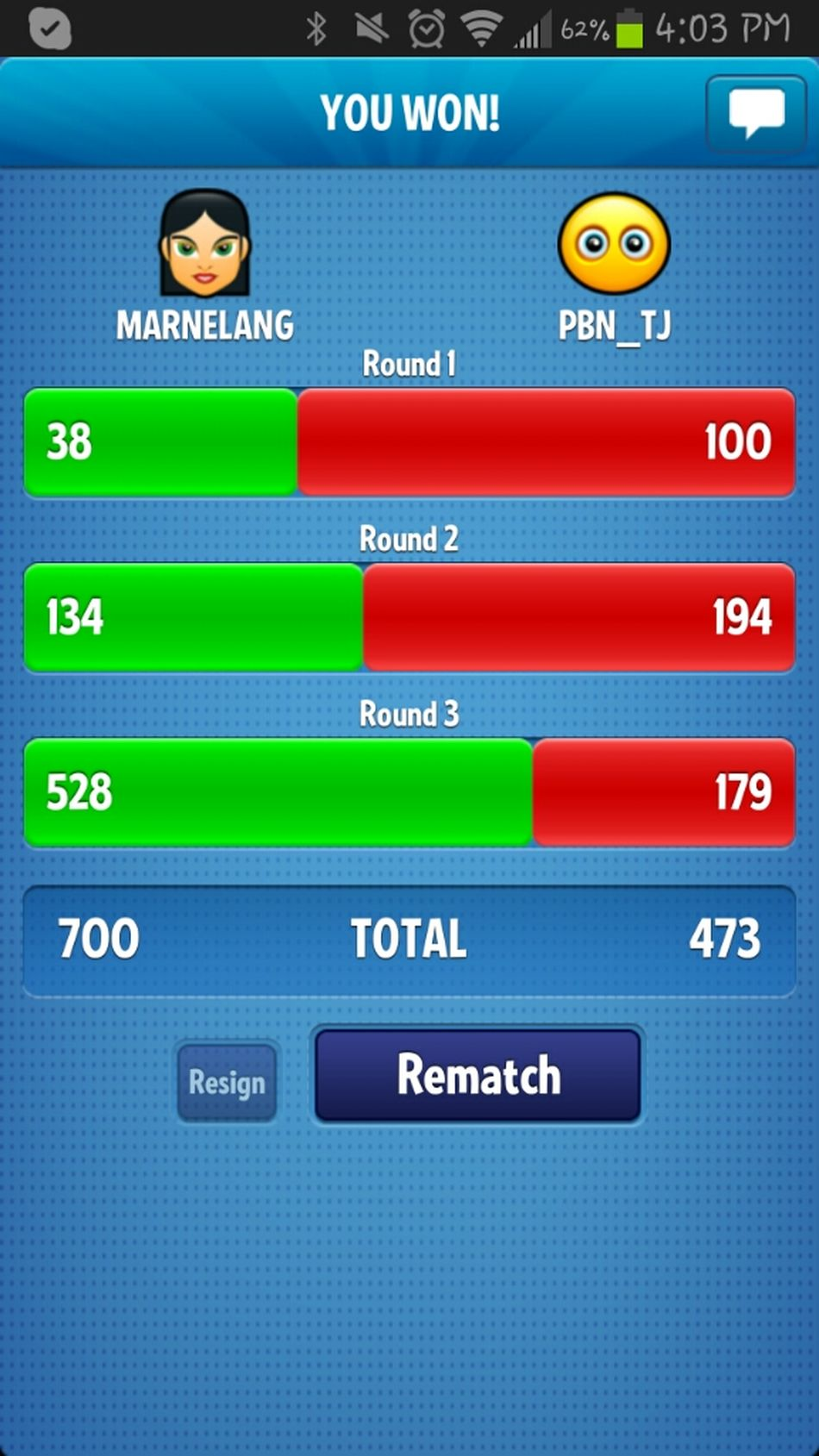 lol beat Ted in Ruzzle :)