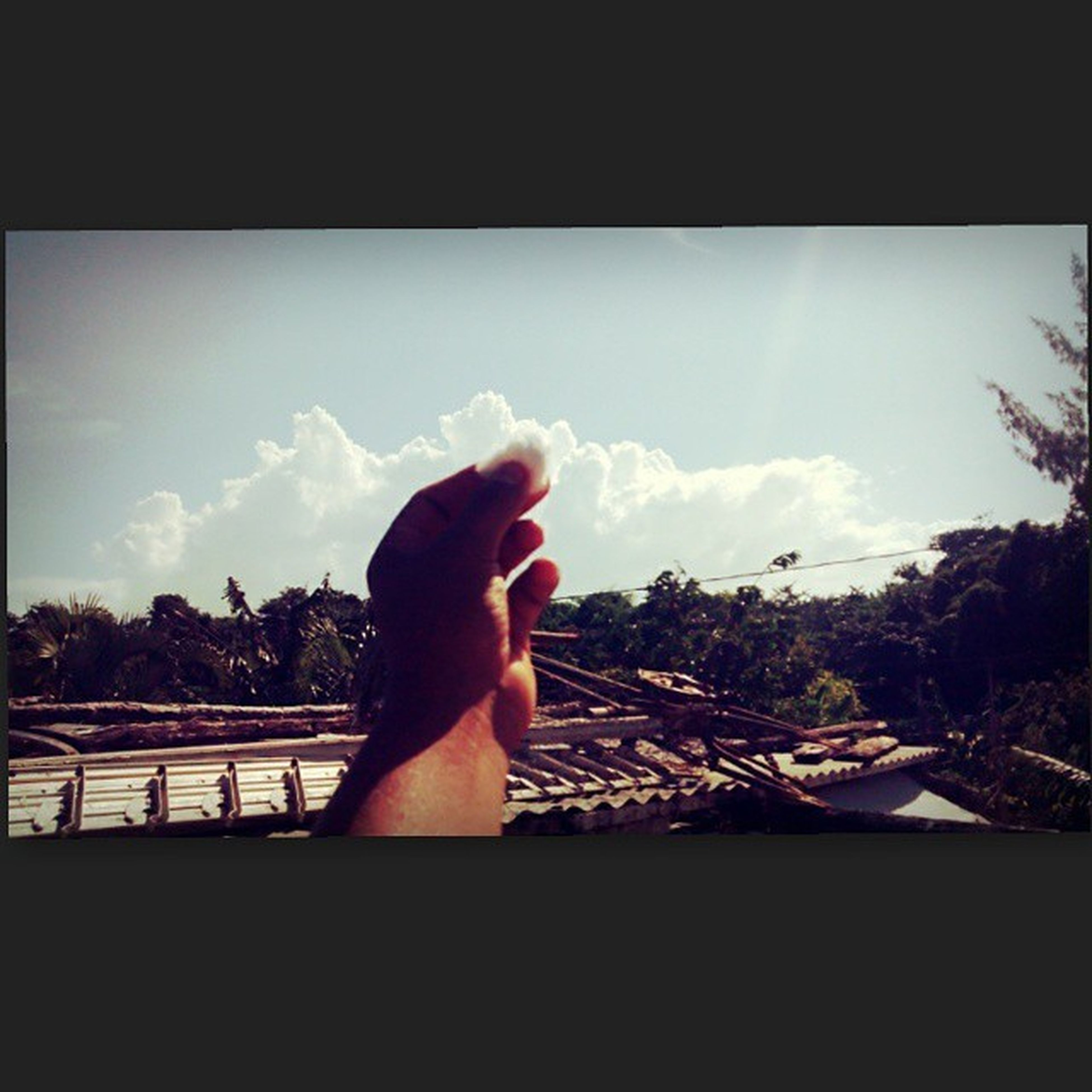 person, sky, part of, lifestyles, transfer print, auto post production filter, personal perspective, cropped, sunlight, leisure activity, relaxation, human finger, cloud, tree, window, nature