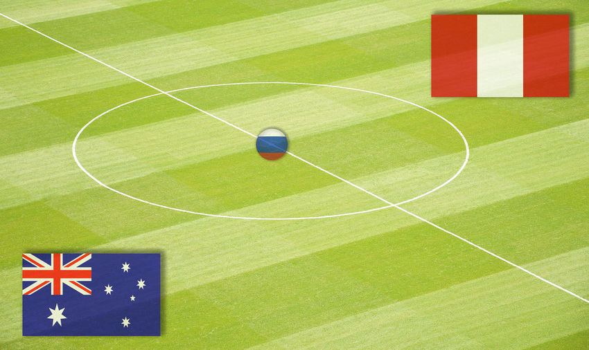 Soccer field with the World Cup mating Australia against Peru Australia Denmark Eighth-Finals Football France Group Stage Group Games Lines National Team Peru Russia Semi-Finals Stadium World Championship World Cup Mating World Ranking Final Flag Football Field Group Play Middle Circle Play Matings Round Of The Last Sixteen World Championship Mating World Cup